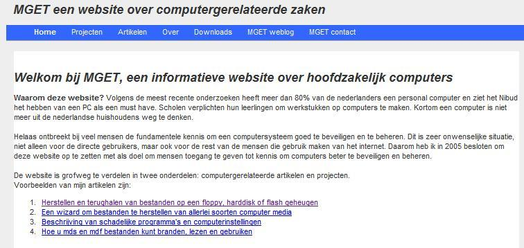 Screenshot van de website MGET van 2005-2010.